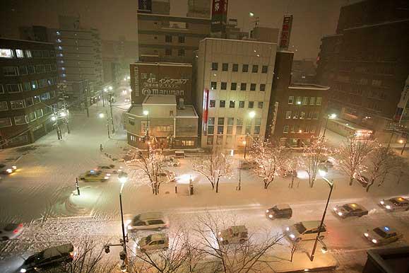 旭川の夜 雪景色